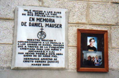 Plaque honoring Daniel on the new school